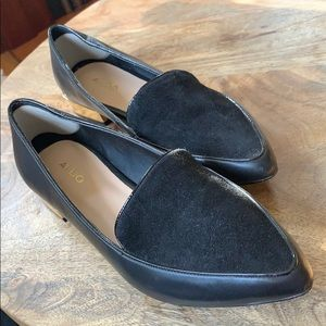 Aldo pointed toe black suede flats with gold trim